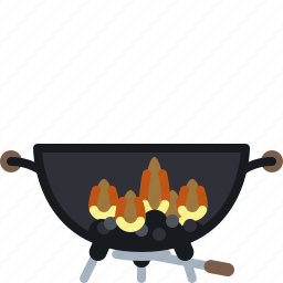 barbecue, burning, coal, cooking, flames, grill, yumminky icon