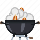 barbecue, cooking, fire, flames, grill, smoke icon