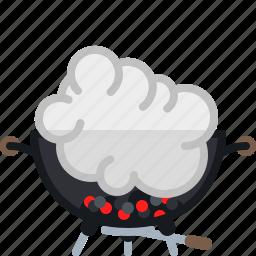 barbecue, coal, cooking, embers, grill, smoke, yumminky icon