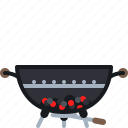 barbecue, briquettes, cooking, embers, food, grill, yumminky icon