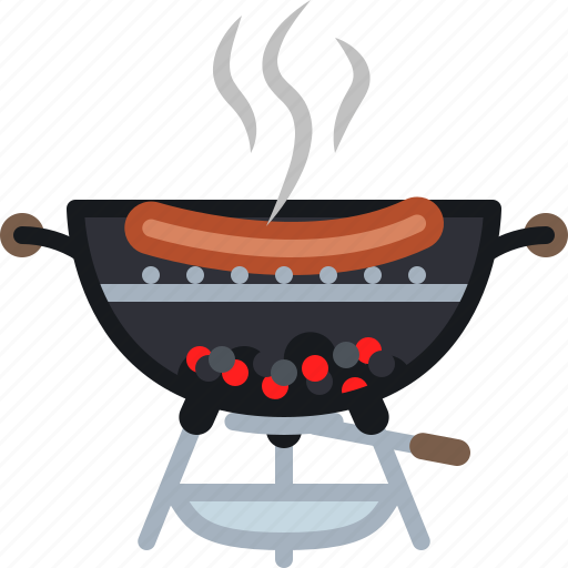 barbecue, cooking, embers, food, grill, sausage, yumminky icon