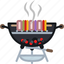 barbecue, cooking, embers, food, grill, skewer icon