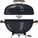 barbecue, cooking, equipment, food, grill, lid icon