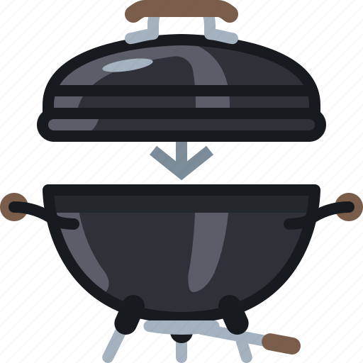 barbecue, cooking, equipment, food, grill, lid, yumminky icon