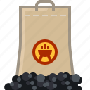 barbecue, briquettes, coal, fire, grill, pack icon