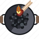 barbecue, briquettes, coal, cooking, fire, grill icon