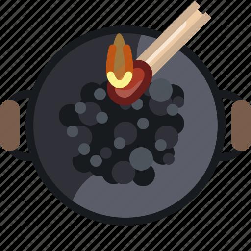 barbecue, briquettes, coal, cooking, fire, grill icon