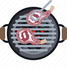 barbecue, cooking, embers, grill, meat, ribs, yumminky icon