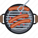 cooking, embers, food, grill, sausage, barbecue