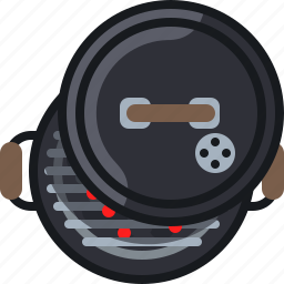 barbecue, coal, cooking, embers, grill, lid, yumminky icon