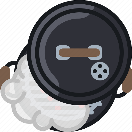 barbecue, cooking, embers, grill, lid, smoke, yumminky icon