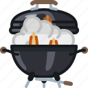 barbecue, cooking, flames, grill, lid, smoke icon