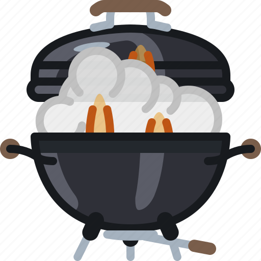 barbecue, cooking, flames, grill, lid, smoke, yumminky icon
