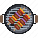 cooking, embers, food, grill, skewer, barbecue