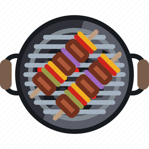 barbecue, cooking, embers, food, grill, skewer, yumminky icon
