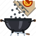 briquettes, coal, grill, pack, pouring, barbecue icon