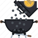 barbecue, briquettes, coal, grill, pack, pouring, yumminky icon