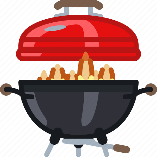 barbecue, cooking, fire, flames, grill, lid, yumminky icon