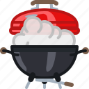barbecue, cooking, grill, lid, smoke, steam icon