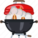 fire, flames, grill, lid, smoke, barbecue