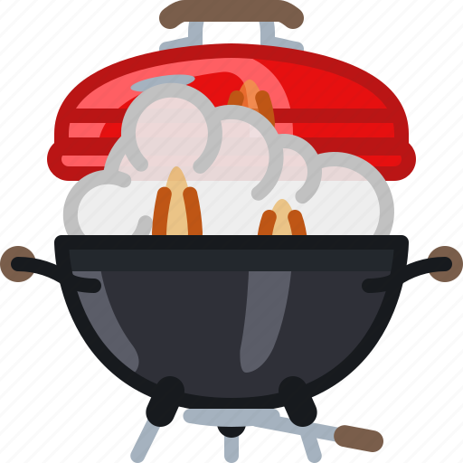 barbecue, fire, flames, grill, lid, smoke, yumminky icon