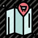 cart, location, map