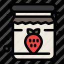 breakfast, jam, jar, strawberry