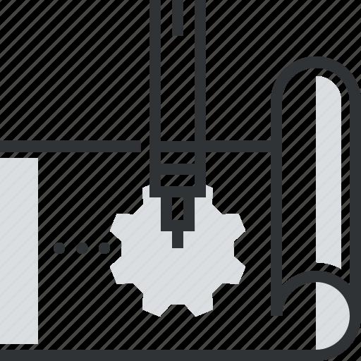 business, cog, design, development, draw, gear, pen icon
