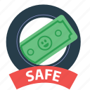 cash, guarantee, money, protection, safe, safety, saved icon