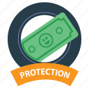 cash, emblem, money protection, money saved, protect, safe, safety icon