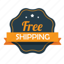 ecommerce, emblem, free, free shipping, guarantee, shipping, shop icon