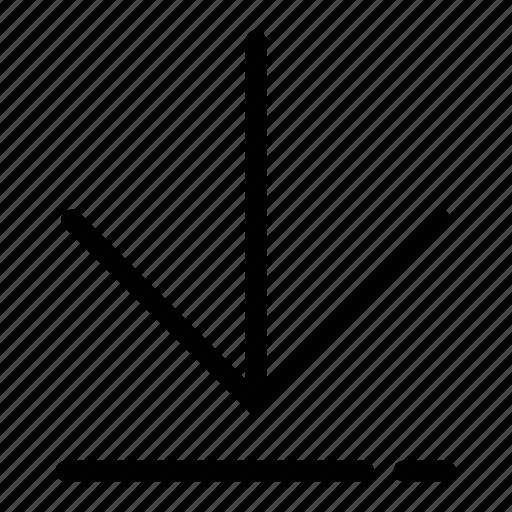 arrow, bottom, direction, download, navigation icon