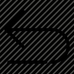 arrow, back, navigation, previous, undo icon