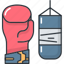 bag, boxing, gloves, punching, sport, training, workout icon
