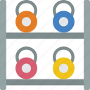 bell, equipment, fitness, gym, health, kettle, rack icon
