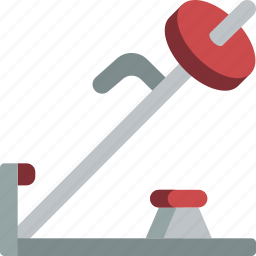 bar, equipment, fitness, gym, health, machine, t icon