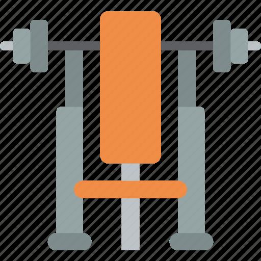 bench, equipment, fitness, gym, health, press icon
