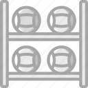 ball, equipment, fitness, gym, health, medicine, rack icon