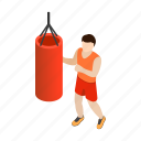 bag, boxer, gym, isometric, man, punching, training icon