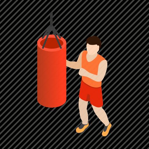bag, boxer, gym, isometric, man, punching, training icon