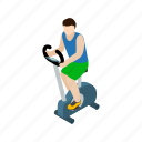 bike, exercise, health, isometric, line, man, training icon