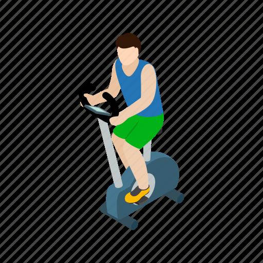 bike, exercise, health, isometric, line, man, training icon
