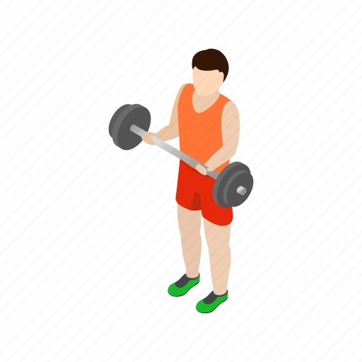 barbell, fitness, holding, isometric, male, man, strong icon