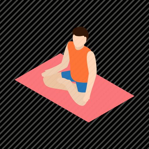 gym, isometric, lotus, man, pose, workout, yoga icon