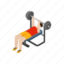 bench, exercising, isometric, lifting, man, press, weight icon