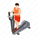 elliptical, isometric, man, simulator, stepper, trainer, walker icon