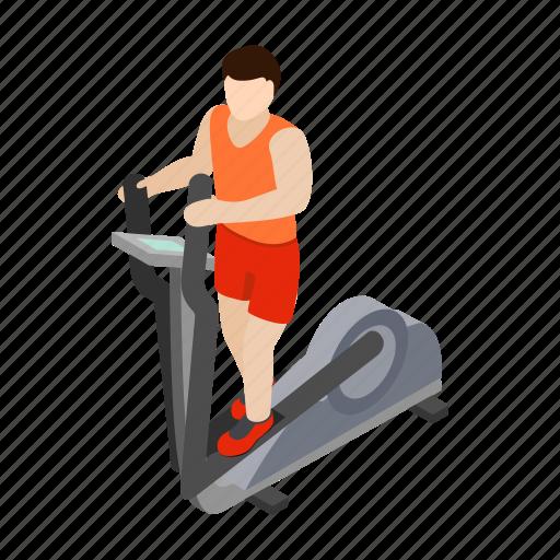 elliptical, isometric, man, simulator, stepper, trainer, walker icon