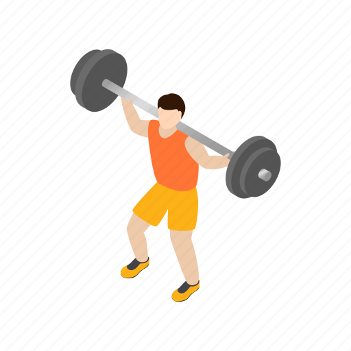 barbell, heavy, isometric, lifting, man, sunburst, weight icon