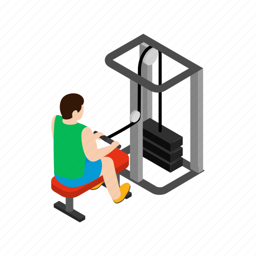 club, hands, isometric, man, rowing, simulator, training icon