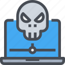 computer, secure, security, skull, virus icon